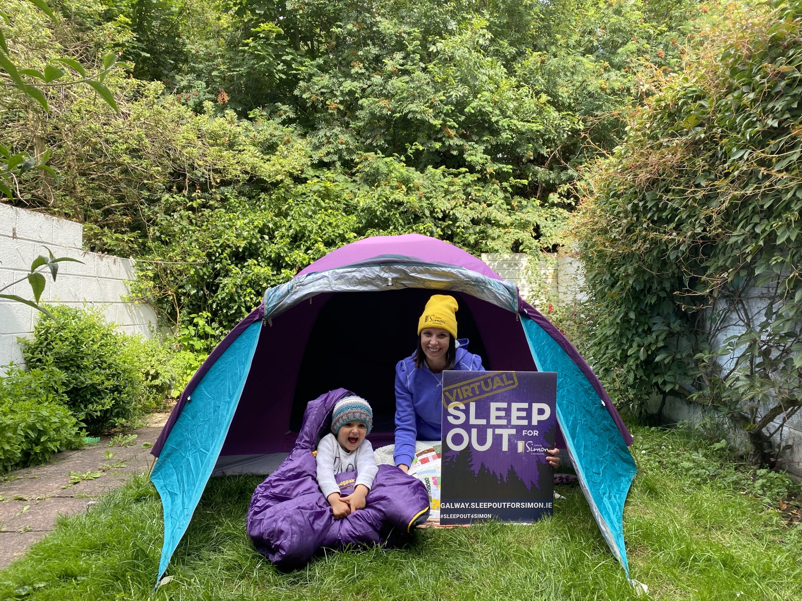 Amy Lavelle from Galway Simon Community and son Lorcan launching the Virtual Sleep Out for Simon